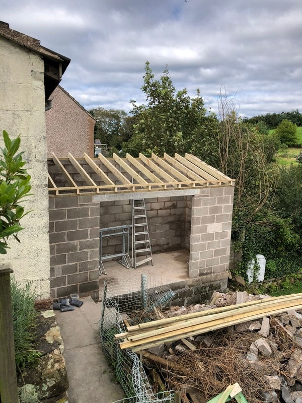 Small garden room part done. Ready to roof before bifolds go In.